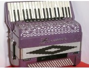 Borsini K9 purple decorated 4 voice double cassotto with MIDI and expander and speaker