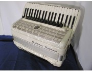 Settimio Soprani pearloid white piano accordion